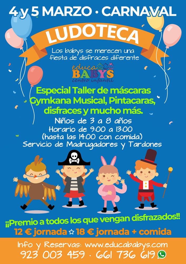 """Servicio de ludoteca """"Especial Carnavales"""" 4 y 5 de Marzo"""